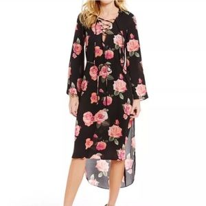 {Gianni Bini} Floral Lace Up Dress Sz S